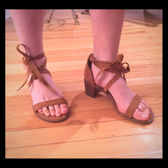 29245b21cef Forever 21 Lace Up Low Block Heels in Tan